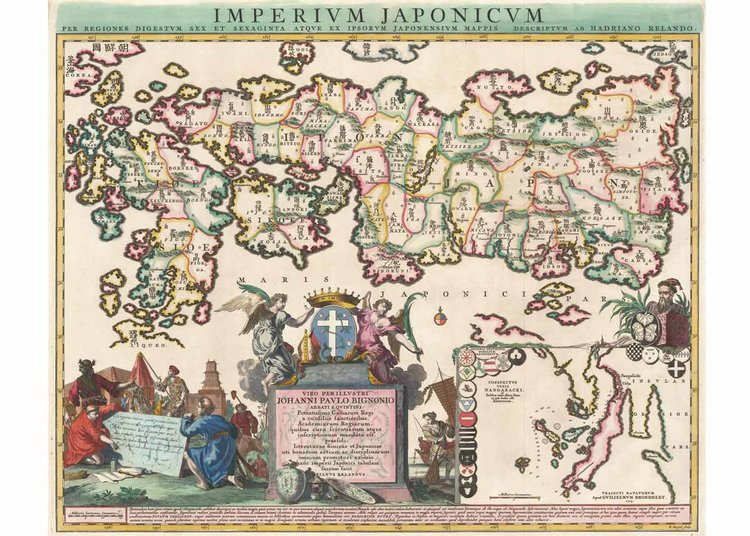 Journey to the past with these illustrious old maps of japan map of the empire of japan adriaan reland 1715 jason c hubbard gumiabroncs Images