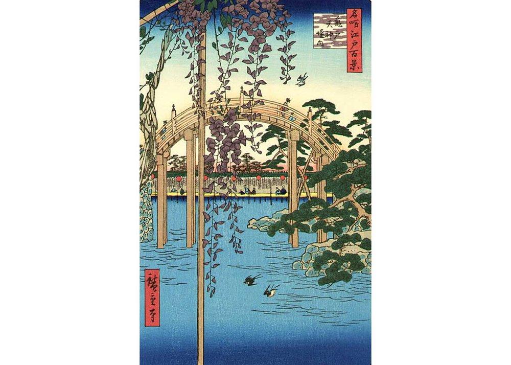 Wisteria and Half Moon Bridge, Woodblock Print by Utagawa Hiroshige, 1857