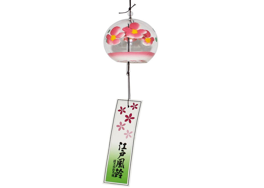 Handmade Wind Chime with Pink Blossoms