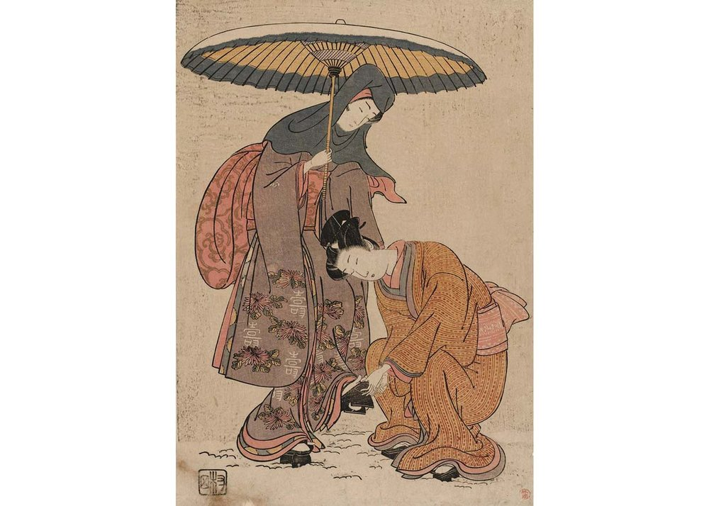 Young Man Removing Snow from a Woman's Geta, Woodblock Print by Isoda Koryusai, 18th Century,  Museum of Fine Arts, Boston