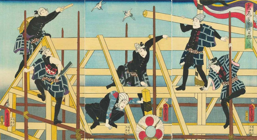 Actors Playing Construction Workers in Happi, Woodblock Print Triptych by Utagawa Kunisada, 1860