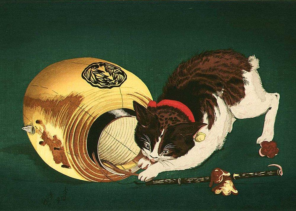 Cat and Lantern, Woodblock Print by Kiyochika Kobayashi, 1886