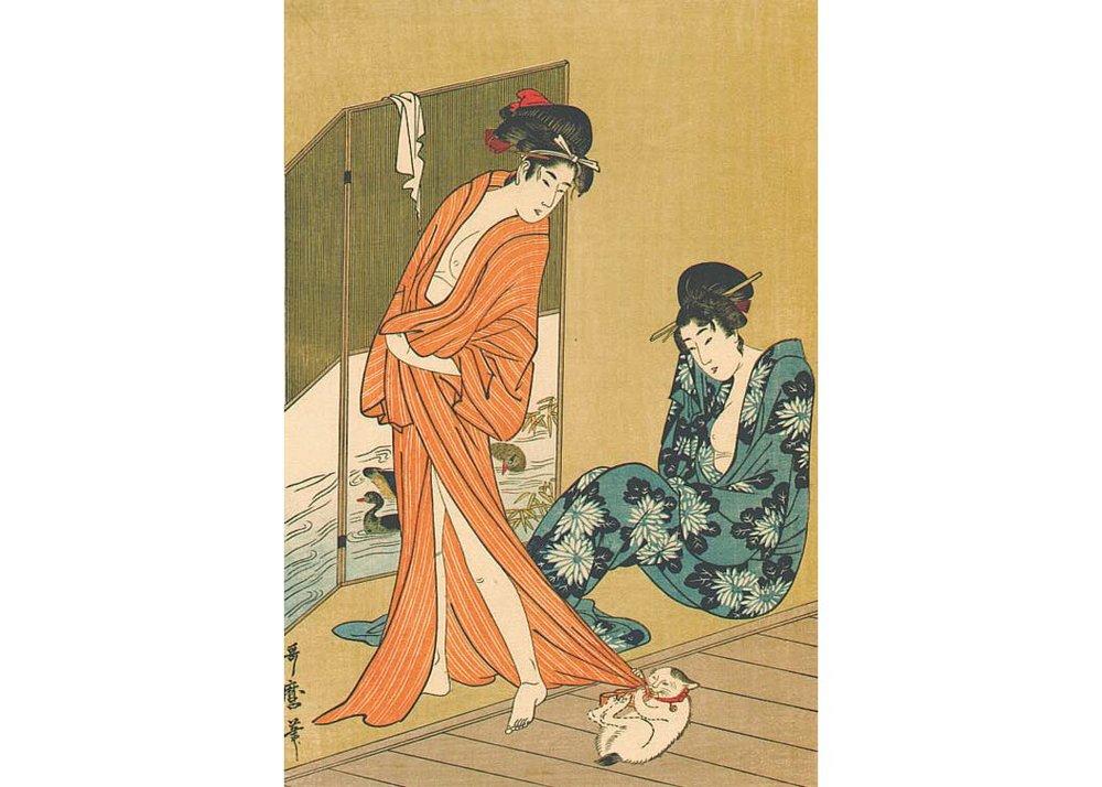 Beauties After a Bath, Woodblock Print by Kitagawa Utamaro, 1800
