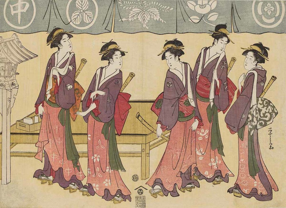 Five Teahouse Waitresses, Woodblock Print by Chobunsai Eishi, 1793