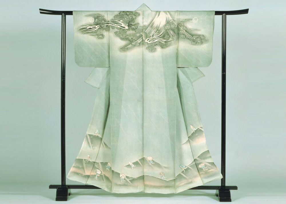 Mount Fuji Kosode Kimono, from the Nara Prefectural Museum