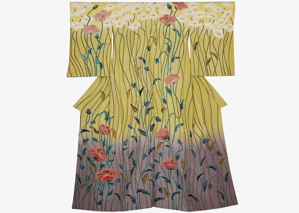 ©Yucho Kubota, Homongi Kimono with Poppies