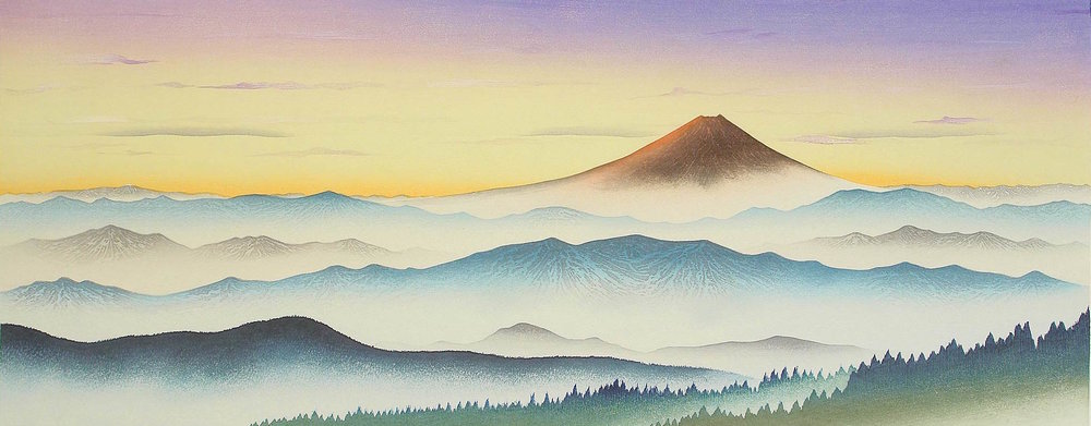 The Daily Renewal - Mt. Fuji, Woodblock Print by  Okamoto Ryusei , 1989