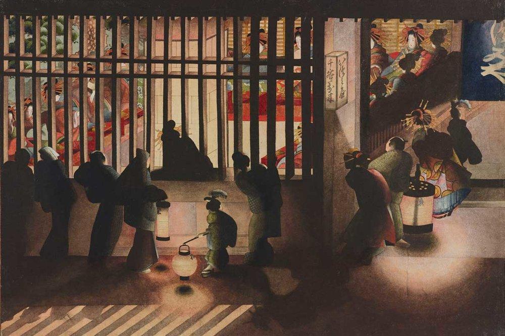 Yoshiwara at Night by Katsushika Oi, 1840s,  British Museum