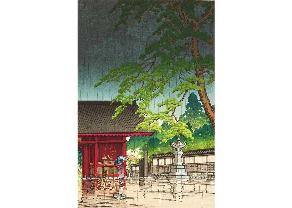 © Hasui Kawase, Spring Rain at Gokoku-ji Temple, 1932