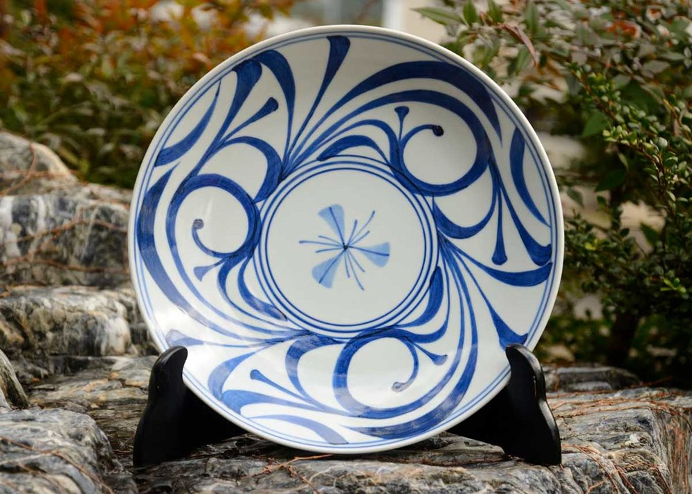 ©  Baizan Kiln , Blue and White Tobe-yaki Dish
