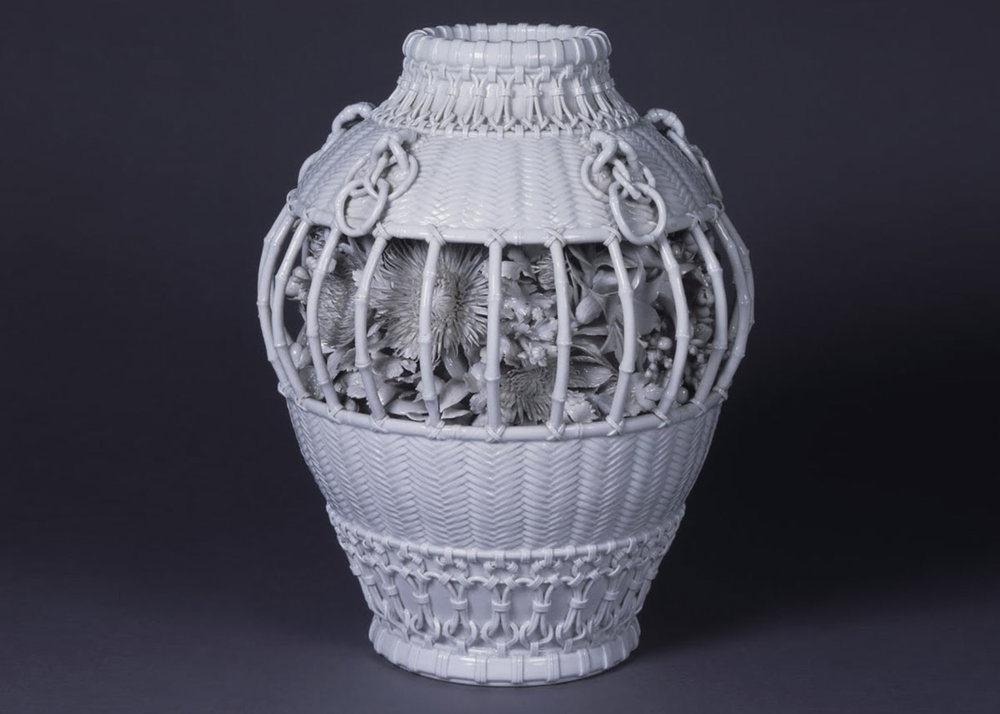 ©  The Museum of Ceramic Art , Hyogo, Izushi-ware Basket-shaped Porcelain