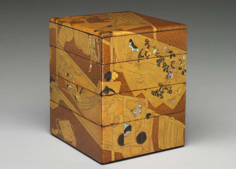 © 18th Century Lacquer Wooden Bento Box with Gold and Silver Inlay