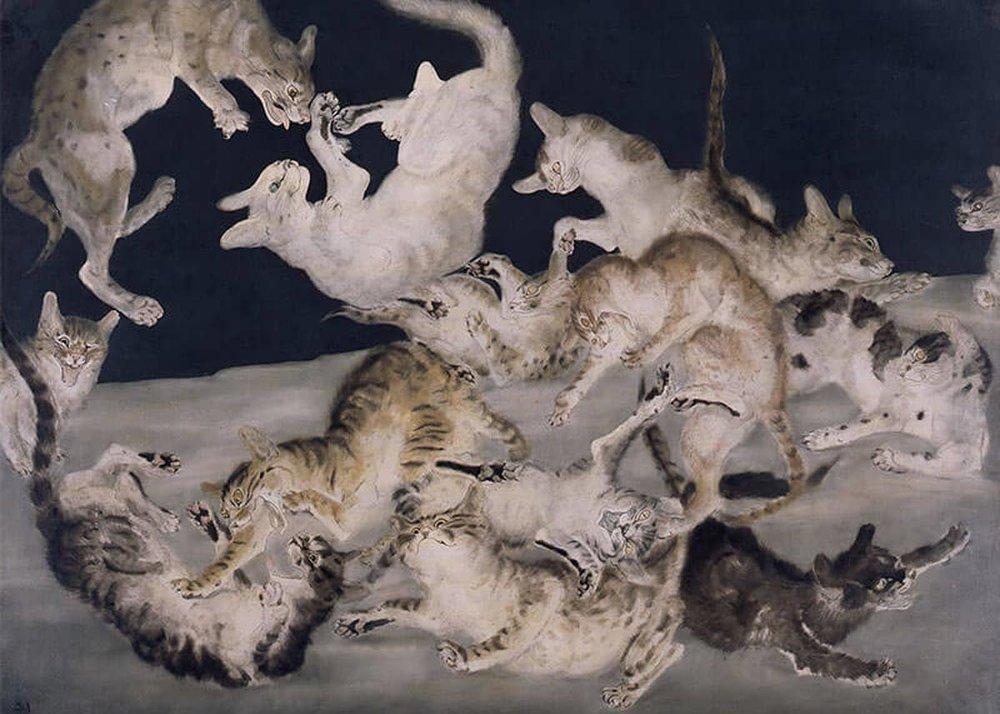 ©  Fondation Foujita  / ADAGP, Fighting Cats, 1940