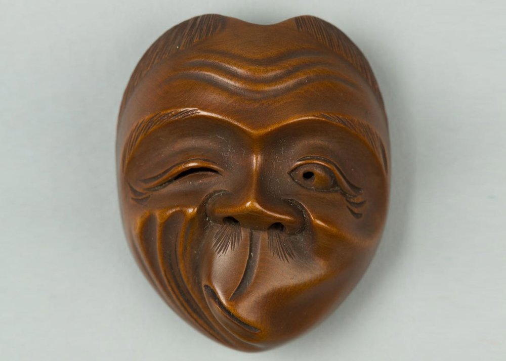 Wooden Hyottoko Mask, 19th Century, the  Met Museum