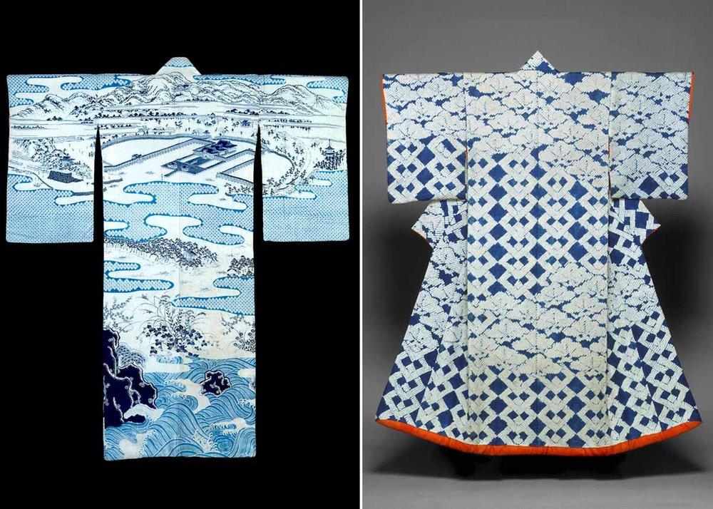 Indigo-dyed Cotton Yukata,  Indianapolis Museum  / Shibori Dyed Kosode Kimono,  Met Museum