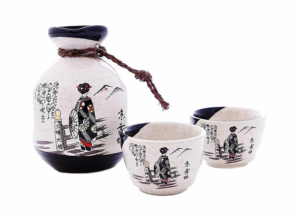 Japanese Sake Bottle and Cups Set