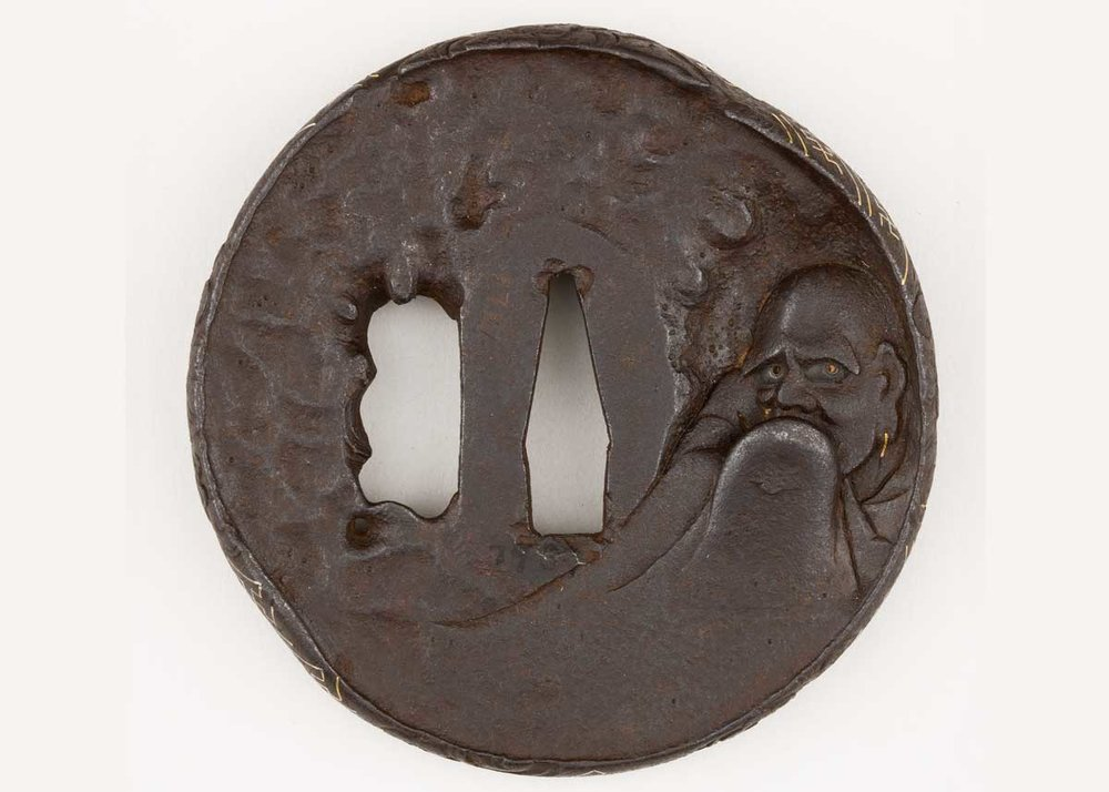 Tsuba Sword Guard with Figure of Daruma, 18th Century,  Met Museum