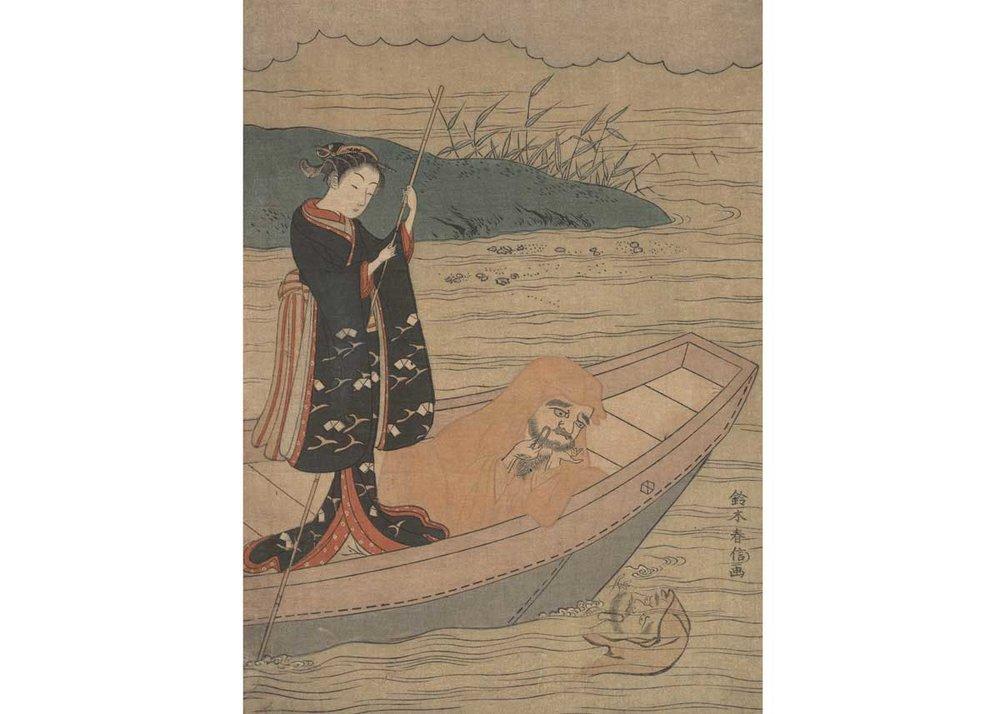 Daruma in a Boat with an Attendant, Suzuki Harunobu, 1767,  Met Museum