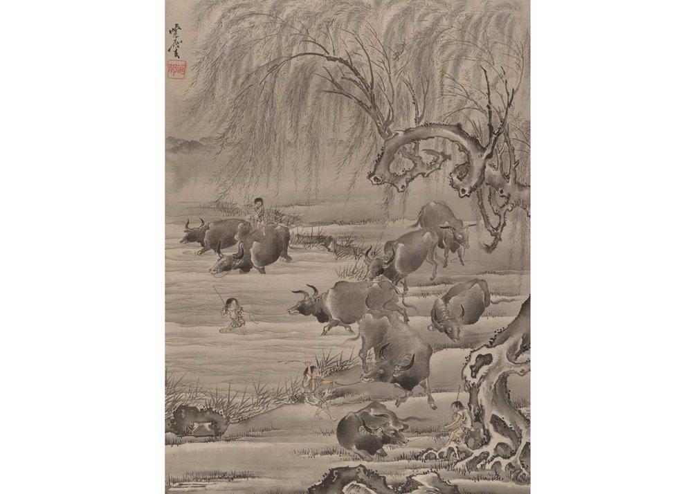 Buffalo and Herdsman, Kawanabe Kyosai, 1887,  Met Museum