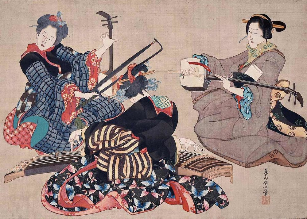 Three Women Playing Musical Instruments, by Katsushika Oi, 1850