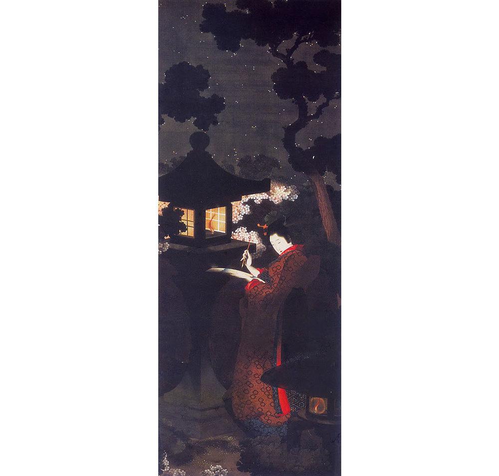 Cherry Blossoms at Night, by Katsushika Oi, 1850