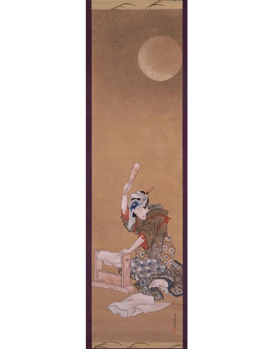 Beauty Fulling Cloth in the Moonlight, by Katsushika Oi, 1850