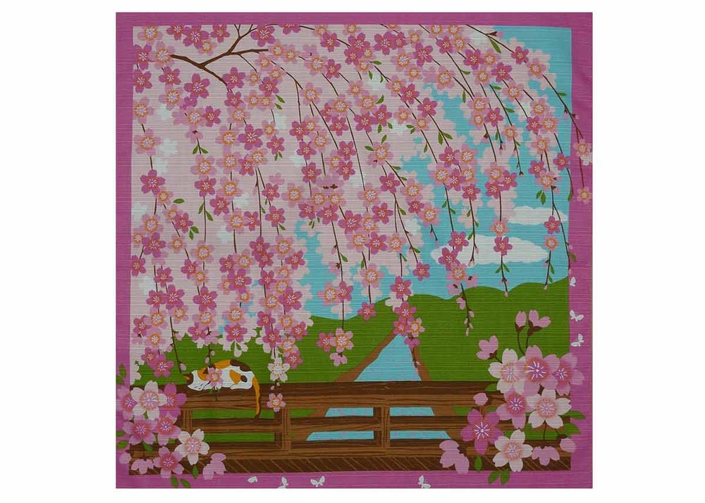 Furoshiki with Cherry Blossom Motif by Maruzen