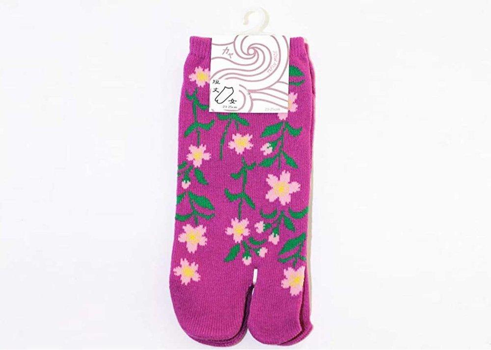 Cherry Blossom Tabi Socks by Kaya