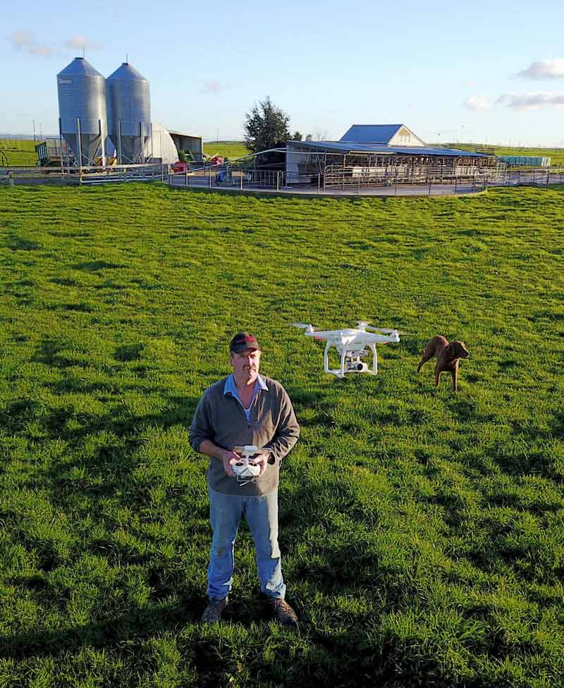 Brad's father, Simon, using the Phantom 3 on their dairy farm in Reporoa