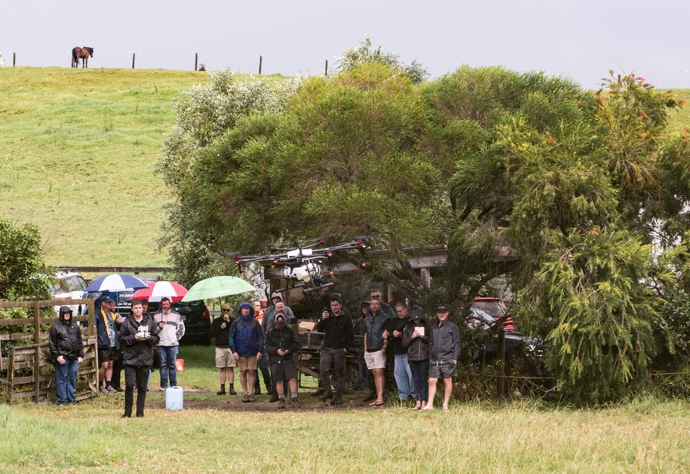 Rain or shine, we will get the Agras MG-1P (Agras MG-1S pictured) in the sky to showcase its capabilities. Photo from our previous Agras Demo Day in Puhoi.