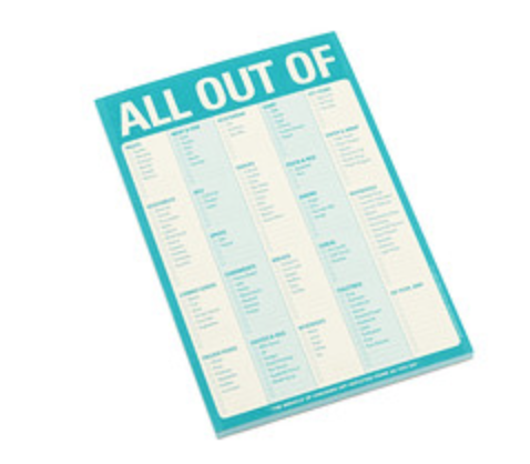 All out of Shopping Checklist