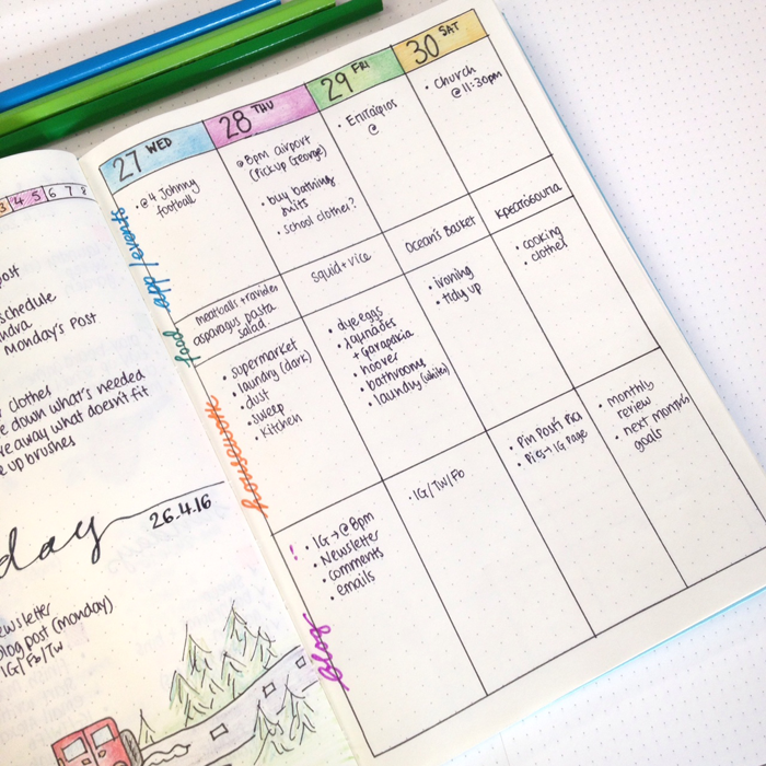 Weekly Calendar Spread : Weekly spread ideas for your bullet journal