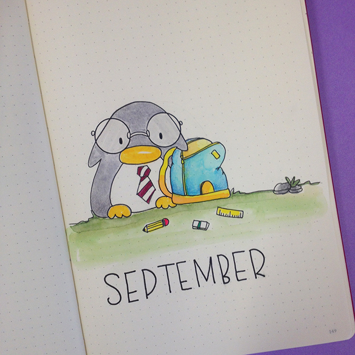 Hello September with Penguin - Bullet Journal.jpg