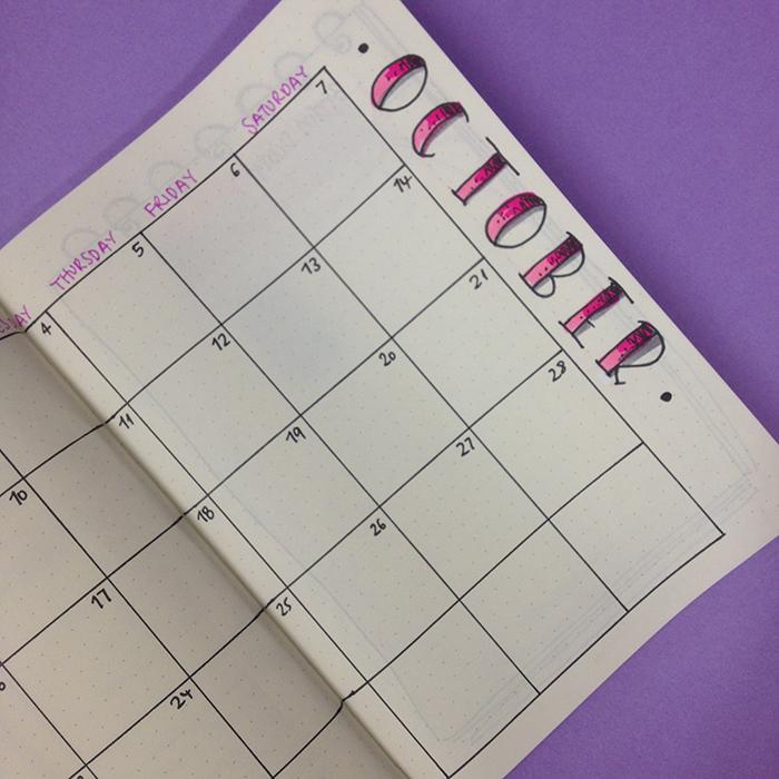 October month at a glance calendar - Bullet journal set up