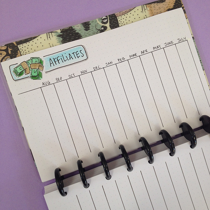 My Blog Bullet Journal Set Up - Affiliates Table
