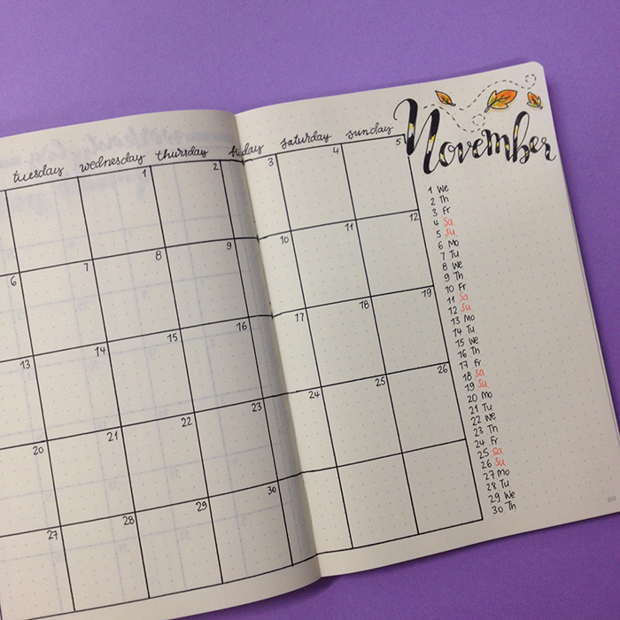 Month at a Glance - Bullet Journal