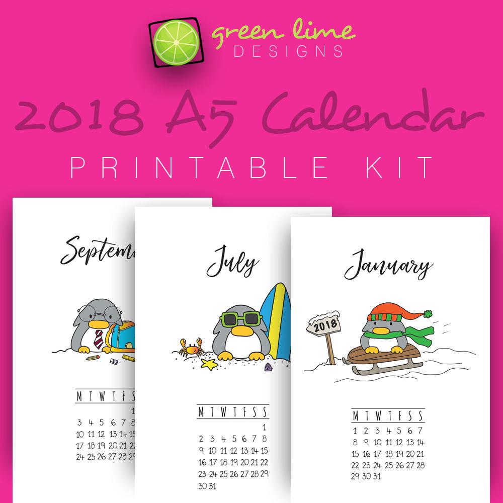 Penguin Calendar 2018 A5 Etsy