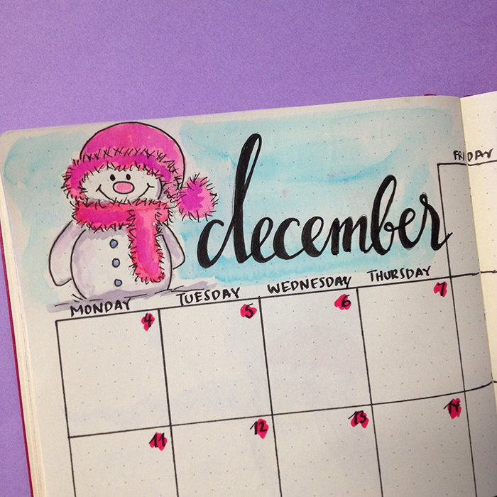 Plan With Me: December 2017 set up in my Bullet Journal - Monthly Spread