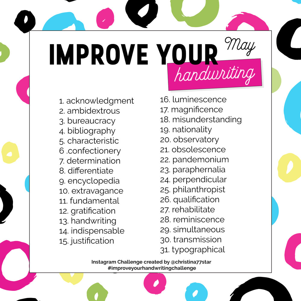Improve Your Handwriting Instagram Challenge - March