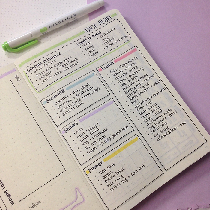 diet loss plan in my bullet journal ii christina77star plan your
