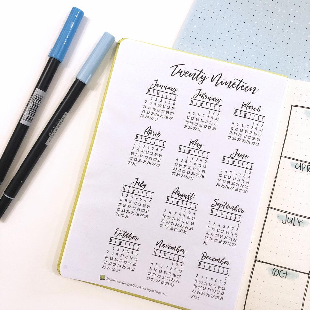 2019 bullet journal setup - 2019 Calendar - www.christina77star.net