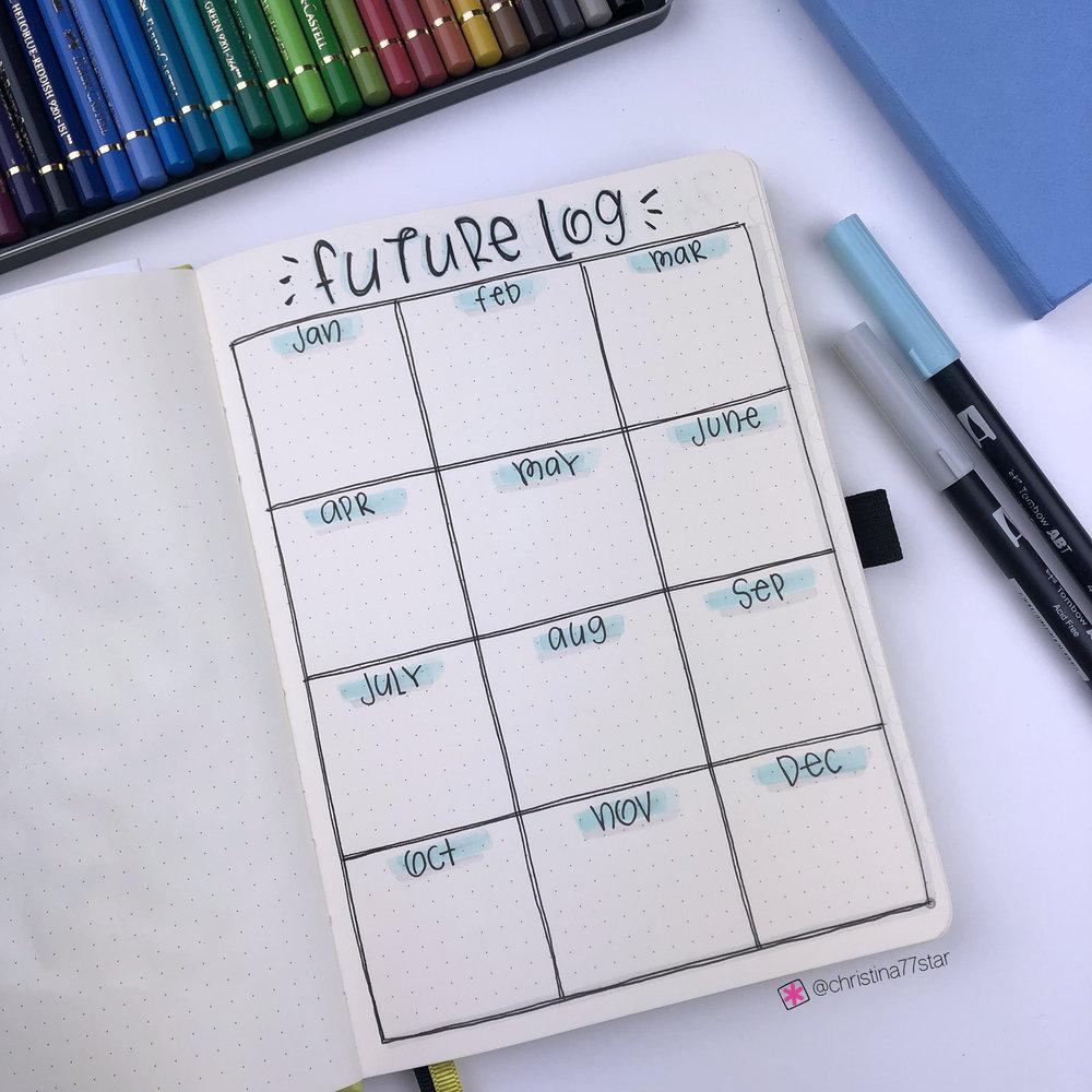 2019 bullet journal setup - Future Log - www.christina77star.net