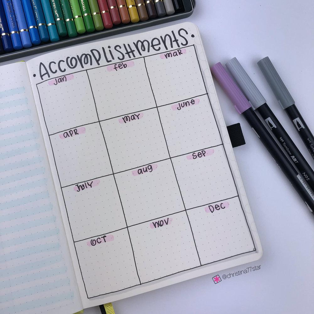 2019 bullet journal setup - Accomplishments - www.christina77star.net