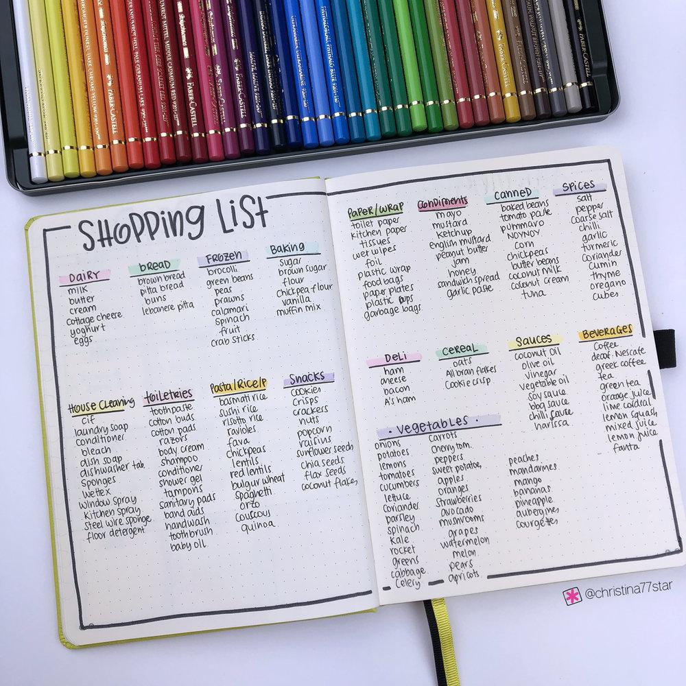 2019 bullet journal setup - Shopping List - www.christina77star.net