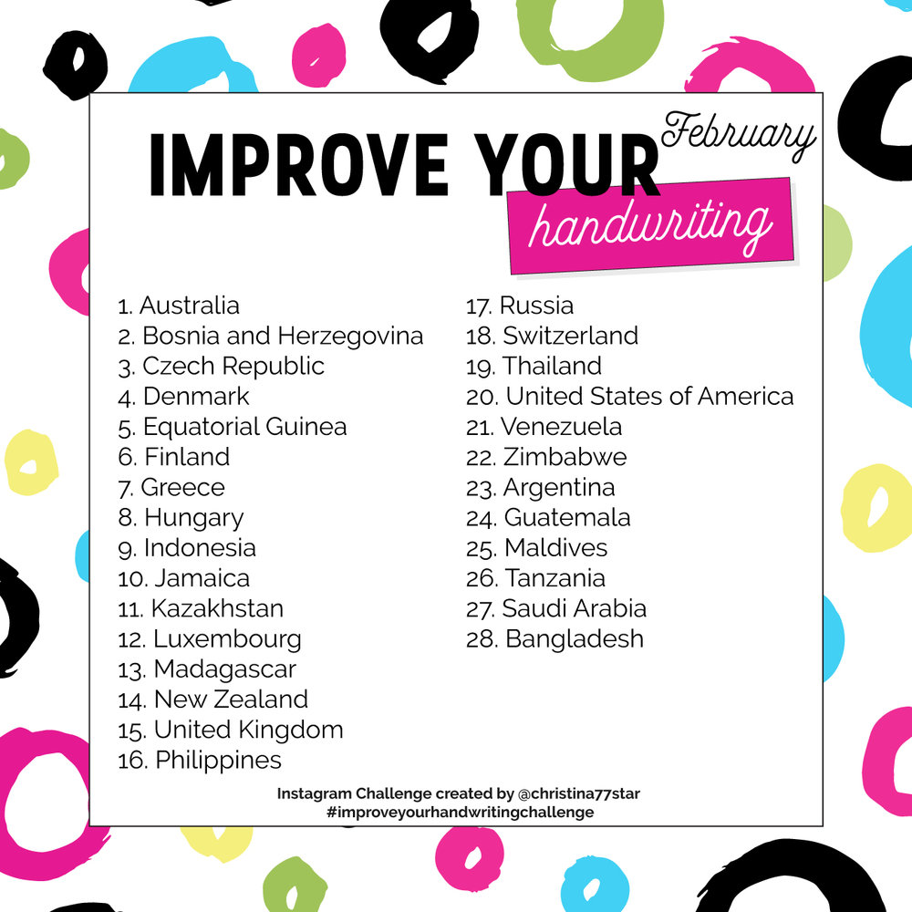 Improve Your Handwriting Challenge - January 2019 | christina77star