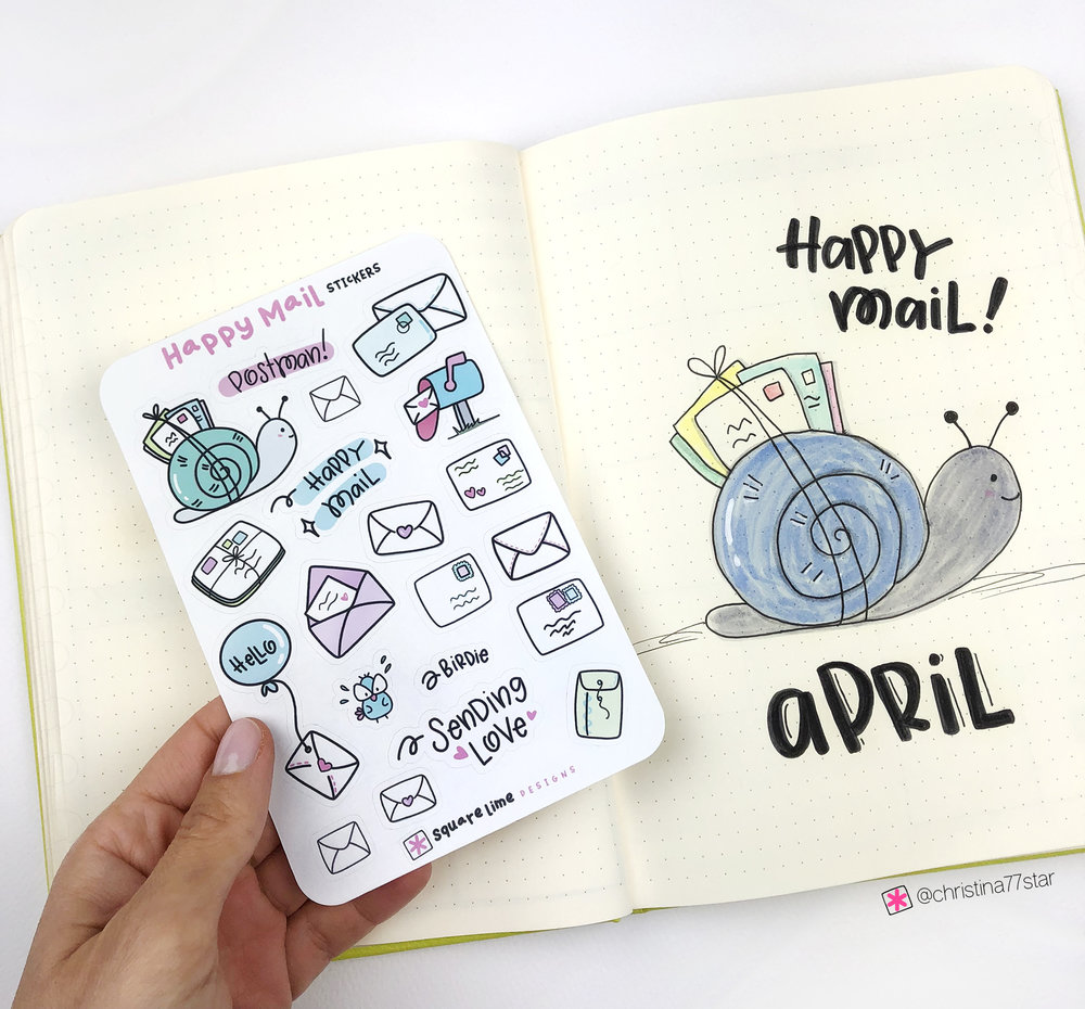 Happy Mail Stickers - April 2019 bullet journal setup - christina77star.net