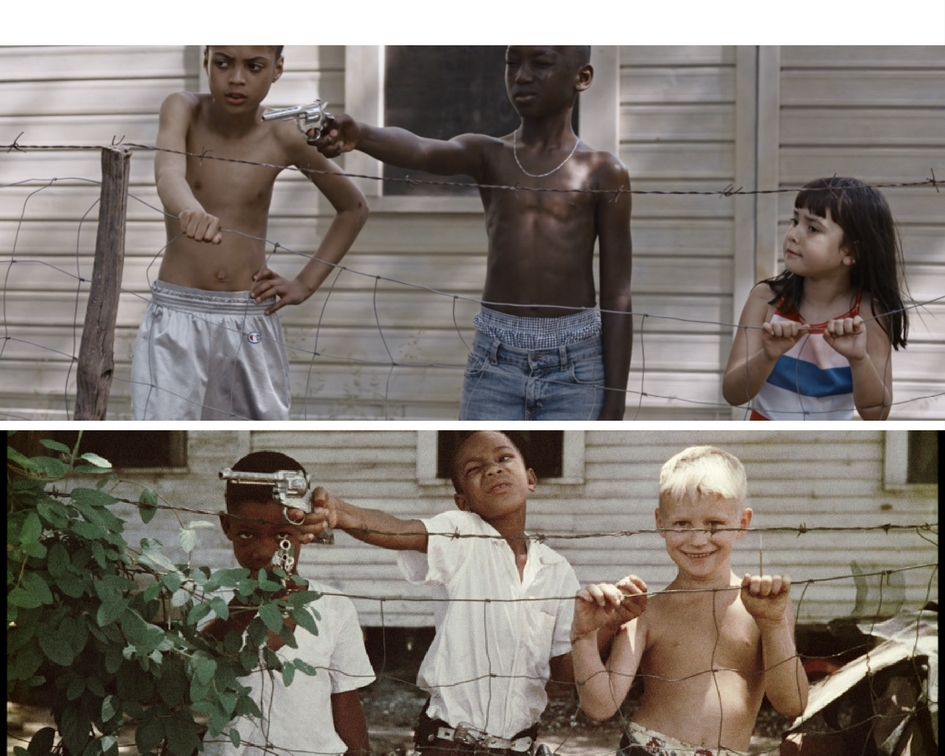 """image c/o Colorlines. (scene from Kendrick Lamar's """"Element"""" music video over Gordon Parks' """"Untitled"""" photo taken in Alabama in 1956.)"""