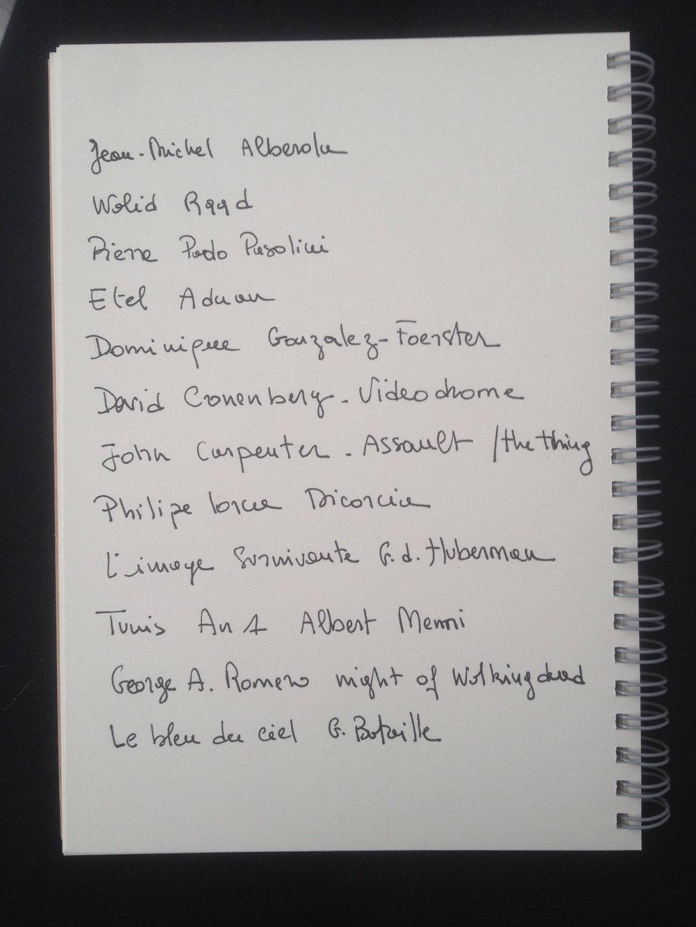 Yesmine Ben Khelil's quick list of influences