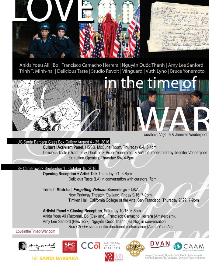 Love in the Time of War postcard, curated by Việt Lê and Jen Vanderpool // 2016-17 University of California, Santa Barbara and SF // Camerawork  loveinthetimeofwar.com