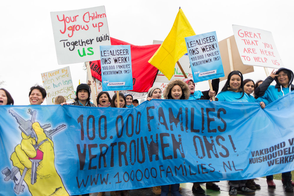 Demonstration Domestic Workers 'Legaliseer Ons Werk', Amsterdam, 2013